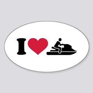 I love Jet ski racing Sticker (Oval)